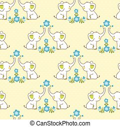 Cute floral seamless pattern with elephants.