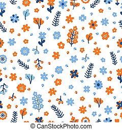 Cute floral seamless pattern with flowers and berries. Colored hand drawn background. Scandinavian style for your design