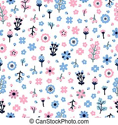 Cute floral seamless pattern with flowers and berries. Scandinavian style design. Colored background