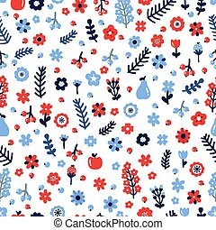Cute floral seamless pattern with flowers and berries. Scandinavian style design. Colored hand drawn background