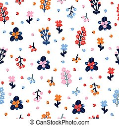 Cute floral seamless pattern with flowers and berries. Scandinavian style design. Folk background