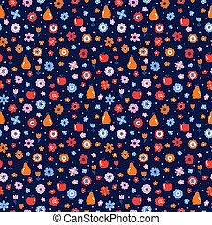 Cute floral seamless pattern with flowers and fruits. Scandinavian style design. Folk background