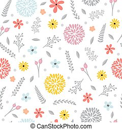 Cute floral seamless pattern with flowers. Spring background. Elegant template for fashion prints