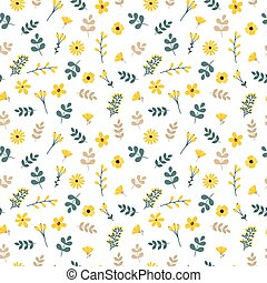 Cute floral seamless pattern with leaves and flowers. Spring background for your design. Elegant template for fashion prints