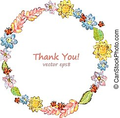 cute floral wreath. watercolor