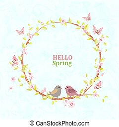 cute floral wreath with blooming sakura and pretty birds on grun