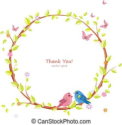 cute floral wreath with pretty birds for your design