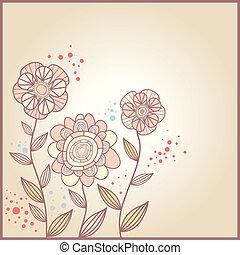 cute, flores, cartão