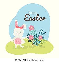 cute, flores, coelho
