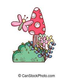 cute, flores, cogumelos, folhas, borboleta, ramo, caricatura