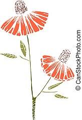 cute, flores, desenho, ramo, quadro