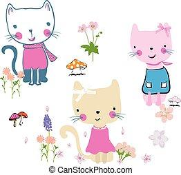 cute, flores, gatos, ilustração