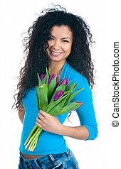 cute, flores, mulheres jovens