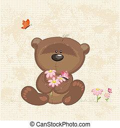 cute, flores, urso
