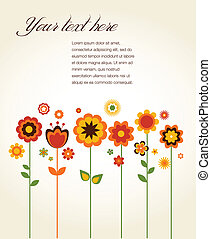 cute, flores, vetorial, cartão cumprimento