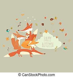 cute, floresta, raposas, com, outono sai