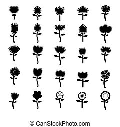 Cute flower icon black and white vector
