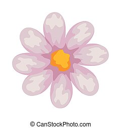 cute flower icon, on white background