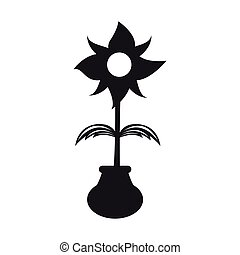 Cute flower on a pot silhouette