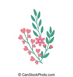 cute flower pink with branch and leafs