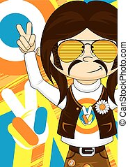 Cute Flower Power Hippie - Cute Cartoon Flower Power Hippie...