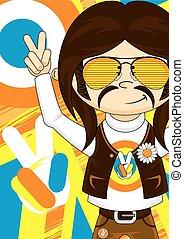 Cute Flower Power Hippie - Cute Cartoon Flower Power Hippie...