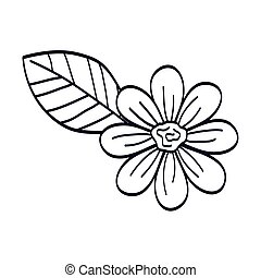 cute flower with leaf line style icon
