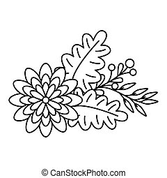cute flower with leafs decoration line style icon