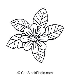 cute flower with leafs line style icon