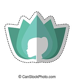 cute flower with woman profile emblem icon