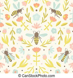 Cute flowers and bees