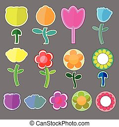 Cute flowers icon vector