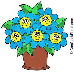 Cute flowers in pot - isolated illustration.