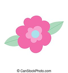 cute flowers leaves decoration cartoon isolated icon design
