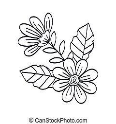 cute flowers with leafs line style icon