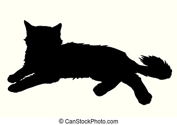 Cute fluffy cat lays. Vector illustration of black silhouette of kitty isolated on white background. Element for your design, print, sticker
