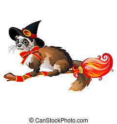 Cute fluffy ferret in the black witch hat flying on a broom isolated on white background. Sketch for poster or card for the holiday of all evil spirits Halloween. Vector cartoon close-up illustration.