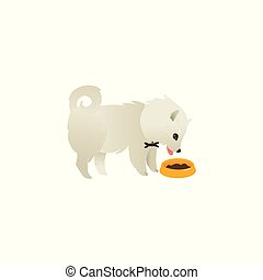 Cute fluffy little dog eating from bowl, side view