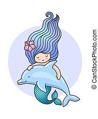 cute, flyde, dolphin., havfrue
