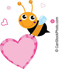 Cute flying Bee holding pink heart isolated on white