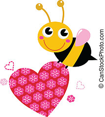 Cute flying bee with pink love heart isolated on white