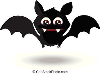 Cute flying cartoon bat with fangs and red eyes isolated on white background.