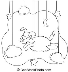 Cute flying dog. Coloring page for kids. Educational leisure. Vector illustration animal for coloring book. Funny puppy in cartoon style. Toy, clouds, stars and the moon. Black and white image contour