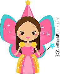 Cute flying fairy character. Elf princess with magic wand. Cartoon kawaii style