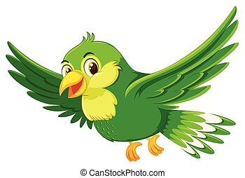 Cute flying green bird