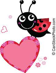 Cute flying Ladybug holding heart isolated on white - Happy...