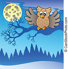 Cute flying owl in snowy landscape - vector illustration.