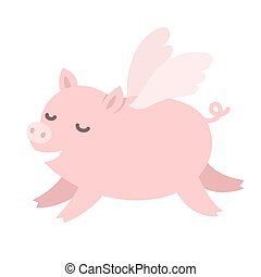 Cute flying pig - Cute carton pig with wings, When pigs fly...