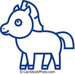Cute foal horse line icon concept. Cute foal horse flat...