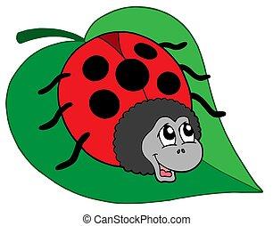 cute, folha, ladybug